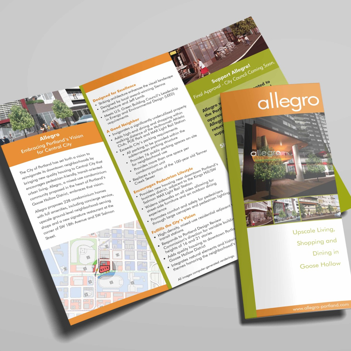 Allegro mixed use development tri-fold brochure interior and cover