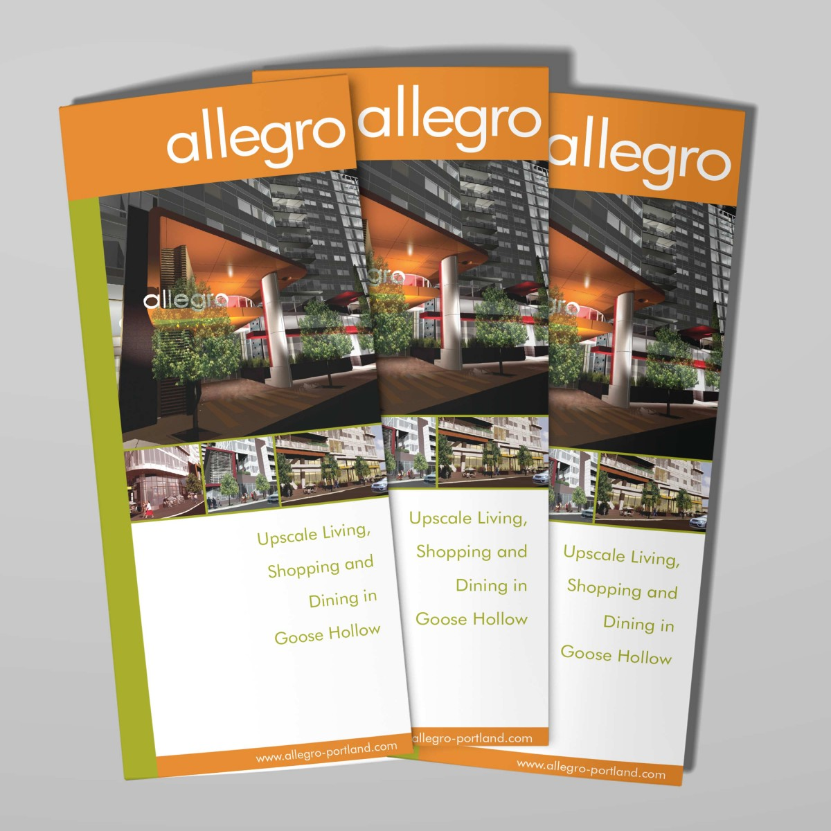 Allegro mixed use development tri-fold brochure cover