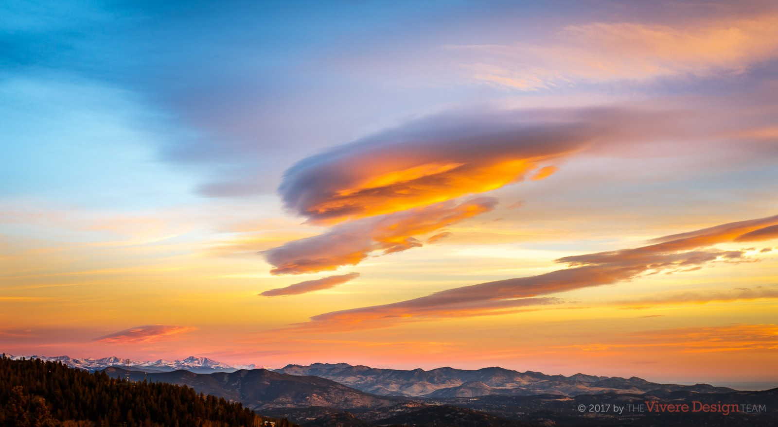 The Vivere Design Team Office Window View -- Sunrise Lenticular Clouds